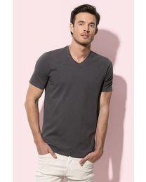 V-hals T-shirt Katoen Elastan Heren